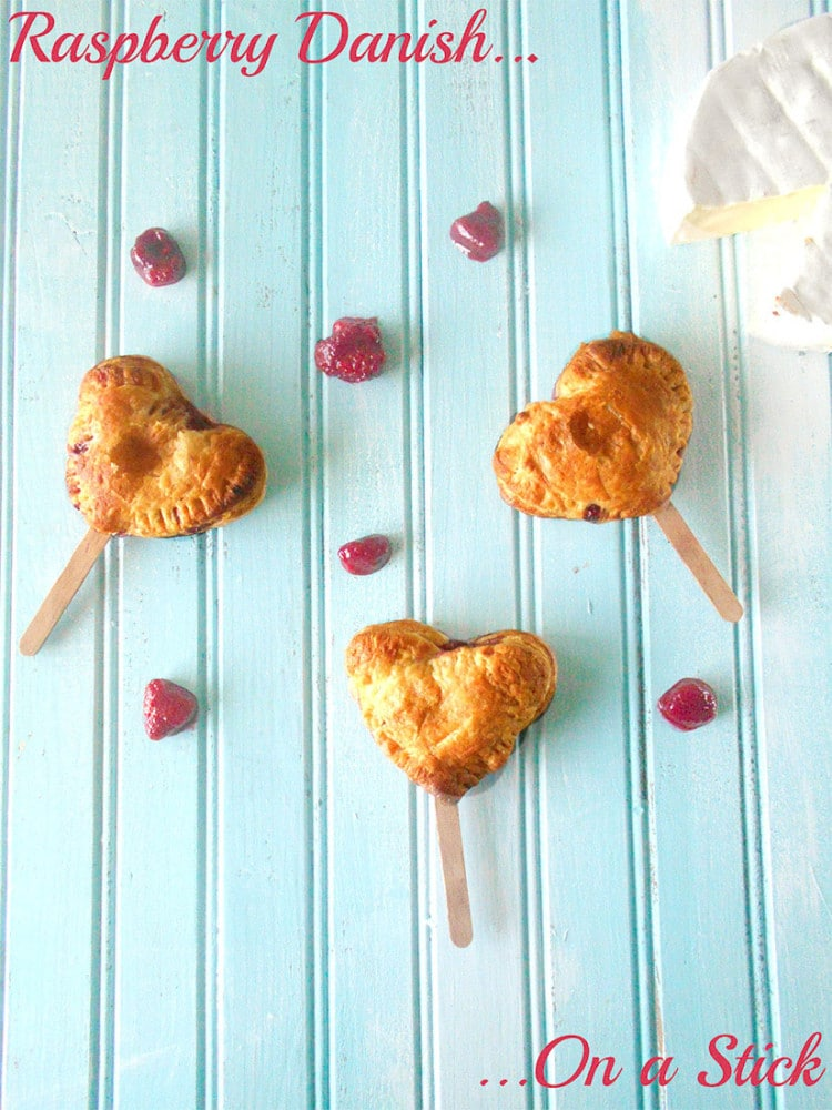 Raspberry Danish on a Stick. Perfect snack to take on the go. Use Brie Cheese instead of cream cheese.