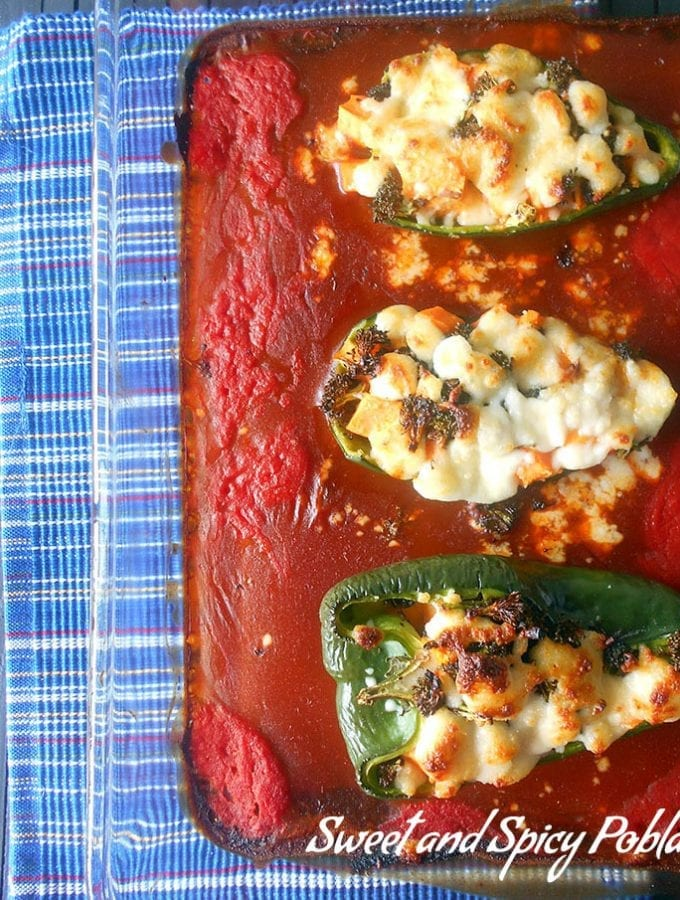 Sweet and Spicy Stuffed Poblanos with Cacique Cheese