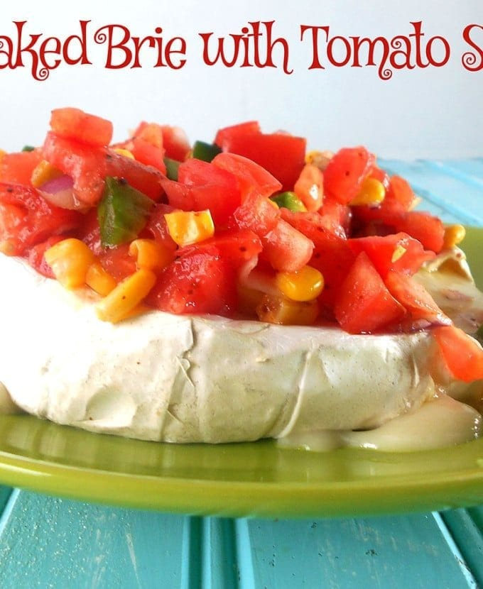 Baked brie with tomato salsa is a great way to spice up chips and dip. It is very easy to make. This is a quick dip recipe and goes great on Cinco De Mayo. Tomato Recipes