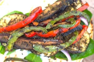 add the grilled bell peppers - vegan gyros