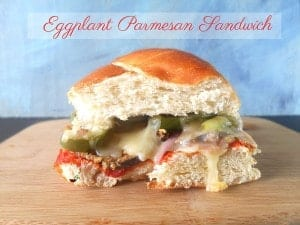 """Baked Eggplant Parmesan Sandwich. Eggplant is """"breaded"""" with Wheat Germ and Flax Seed Meal. Best Tomato Recipes Ever"""