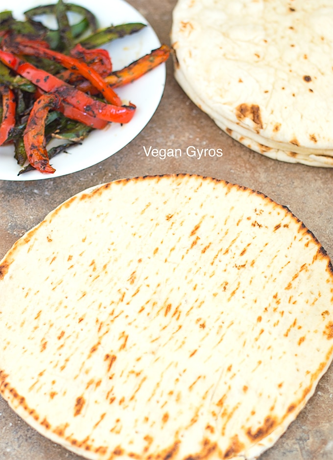 gyros flatbreads. One shows the back and the others show the top of the flatbread - vegan gyros
