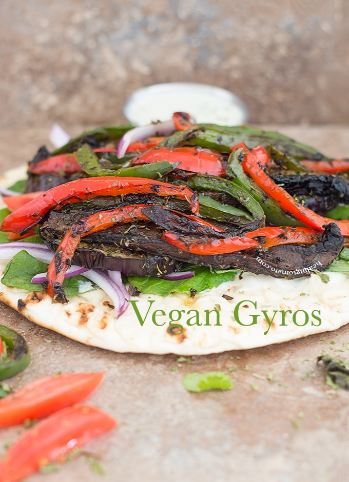Front View of a Flatbread Pita Topped with Grilled Veggies