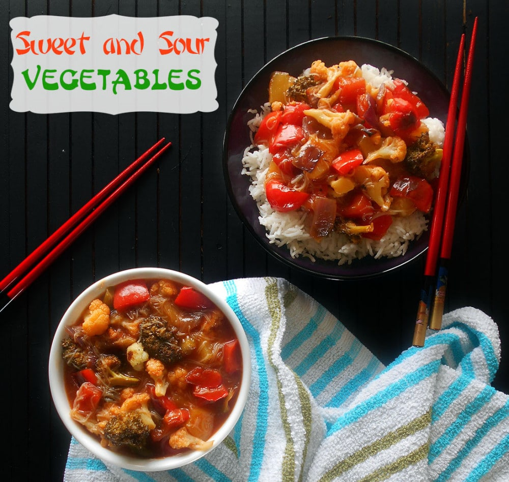 2 bowls of sweet and sour vegetables with chopsticks on the sides. One bowl has rice in it.