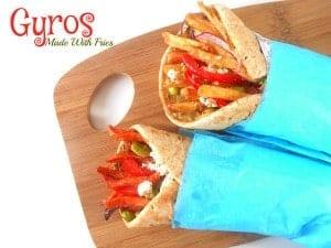 Vegetarian Gyros Made with Alexia Sweet Potato Fries and Alexia Rosemary Fries. #SpringIntoFlavor #CollectiveBias #sponsored