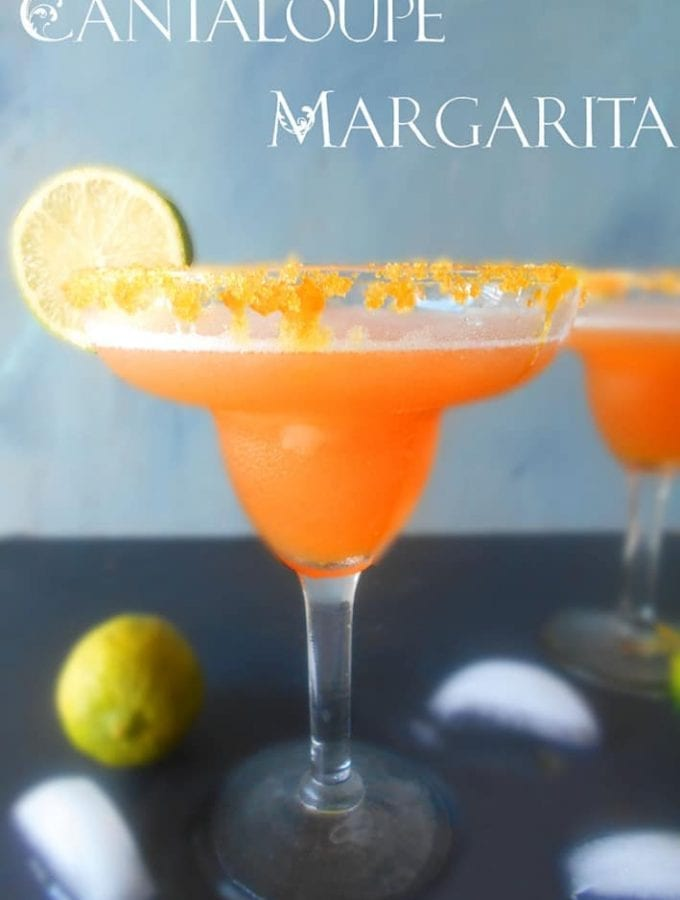 This is a simple margarita recipe. Great for outdoor summer parties. This frozen cantaloupe margarita recipe is very easy and only takes 15 minutes to make. Serve at cocktail parties or for a girls night in.