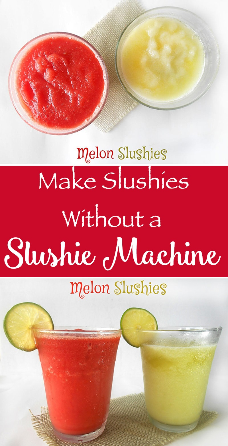 Make Slushies without a slushy machine? Use Fresh Watermelons & Honeydew, Make This Quick Summer Coolers. Takes Only 20 minutes. Optionally, Add Malibu Rum