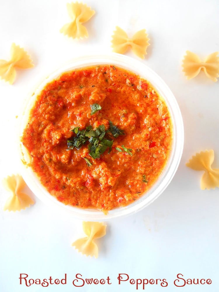 10-ingredient, vegan and gluten-free. Roasted red pepper sauce that is perfect for pasta sauces, ravioli sauces and as a chili sauce