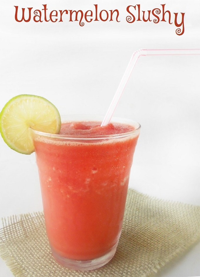 Front View of a Glass Filled with Watermelon Slushie. Make Slushies without a slushy machine
