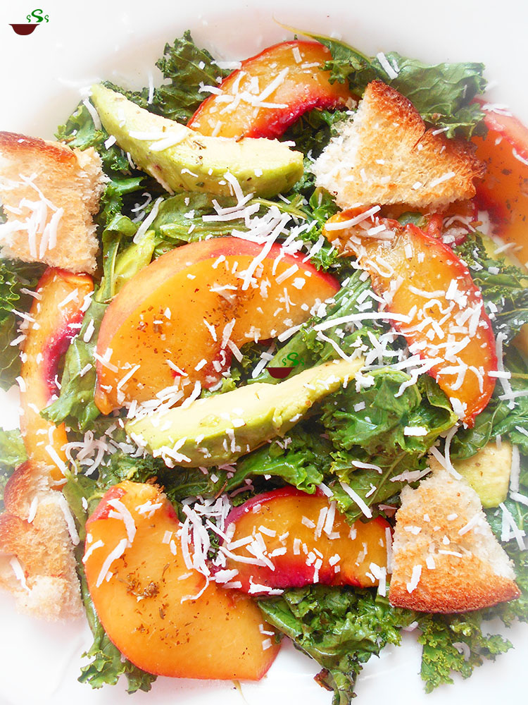 Kale Salad made with coconut and peaches. Perfect healthy meal and dinner idea. Quick salad for vegetarian and vegan