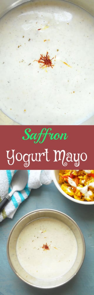 Saffron Yogurt Mayo - A super simple vegan mayo recipe that is quick to make. Use it in coleslaw or as a veggie dip