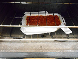 Vegan Meatloaf pan placedin the oven
