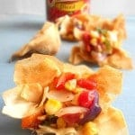 Roasted Corn Salsa Cups - This is a quick salsa recipe for game day. My tailgating parties always have this quick salsa recipe.