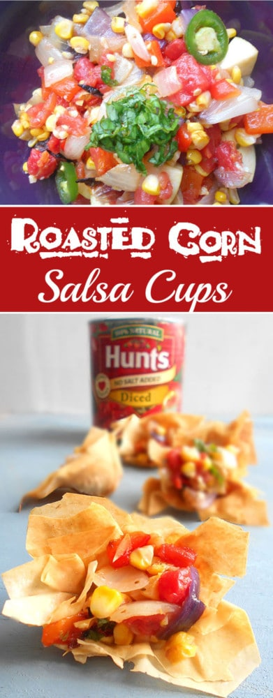 Roasted Corn Salsa Cups - This is a quick salsa recipe for game day. My tailgating parties always have this quick salsa recipe