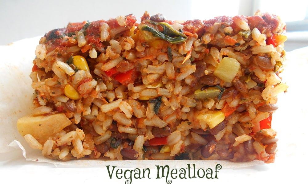 Front view of a section of the vegan meatloaf recipe
