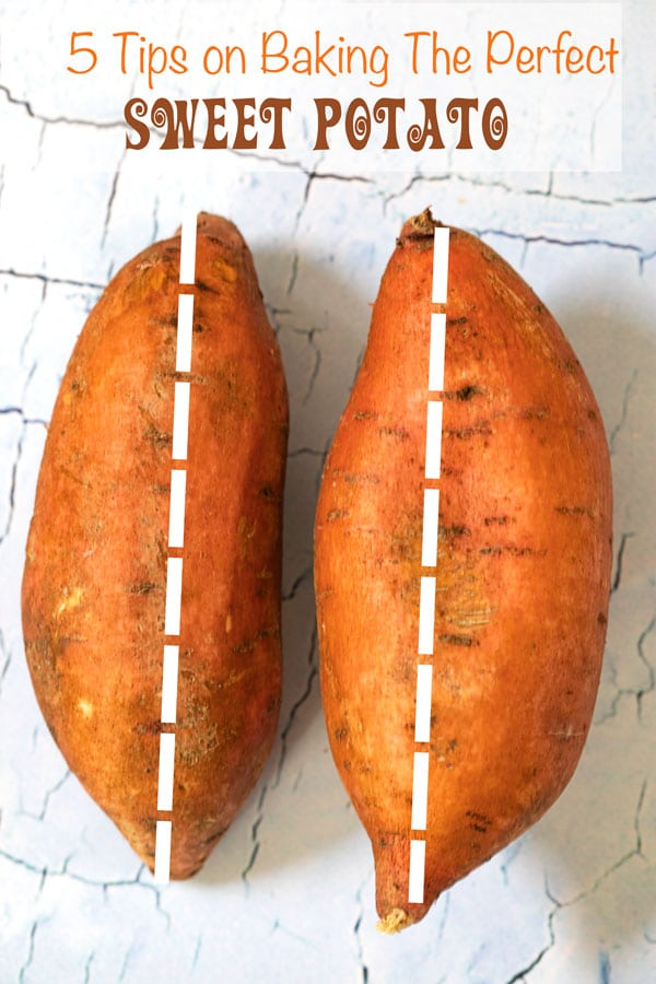 Two long sweet potatoes with a white dotted line - 5 Tips on Baking The Perfect Sweet Potato