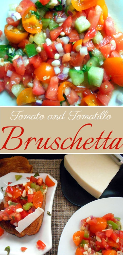 Bruschetta made with tomatoes and tomatillo. With pine nuts, it gives this bruschetta a delicious nutty and tangy flavor. Takes only a few minutes to make and is perfect lo carb snack