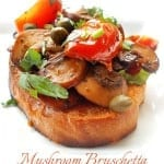 Mushroom bruschetta is a perfect Sunday Brunch recipe. This is a quick meal idea that is a healthy vegan recipe. Also a great lo-carb vegetarian recipe - Best Tomato Recipes Ever