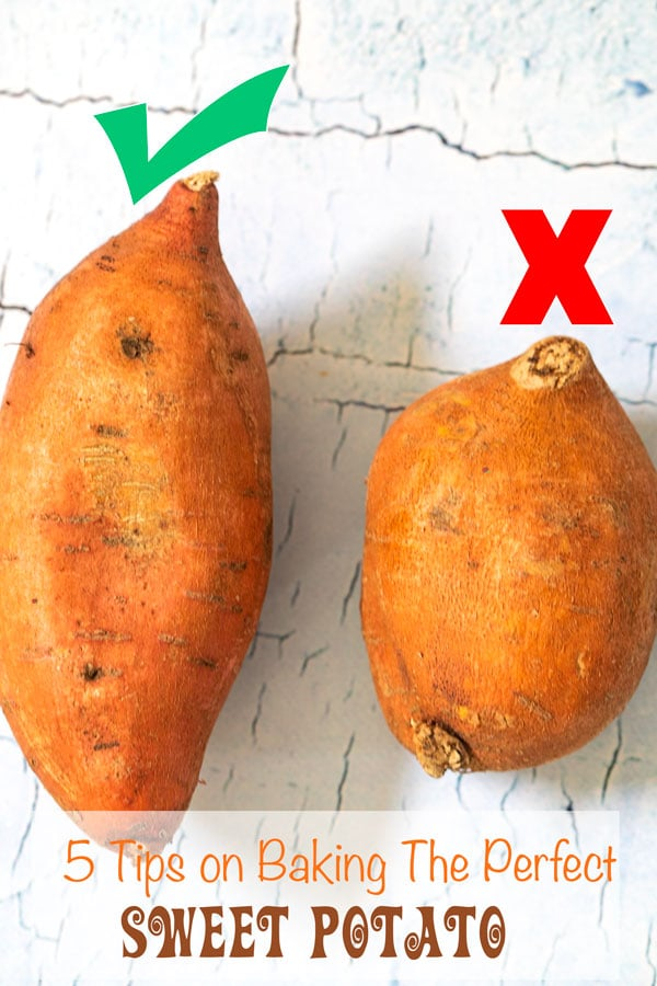 Two sweet potatoes side by side showing which one to choose - 5 Tips on Baking The Perfect Sweet Potato