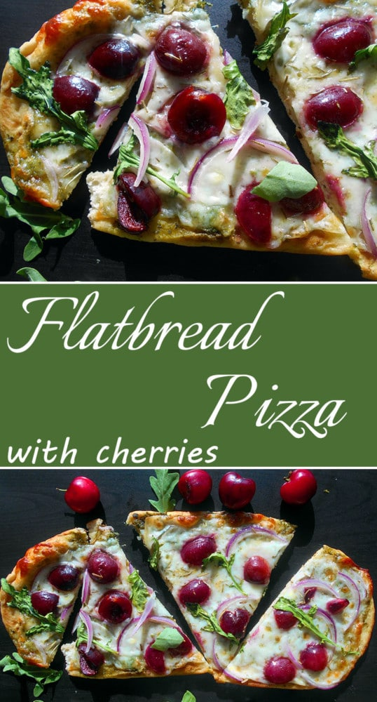 Flatbread Pizza with Cherries and Arugula. Fresh cherry recipes always draws a crowd. This flatbread pizza recipe with delicious melted cheese is perfect comfort food