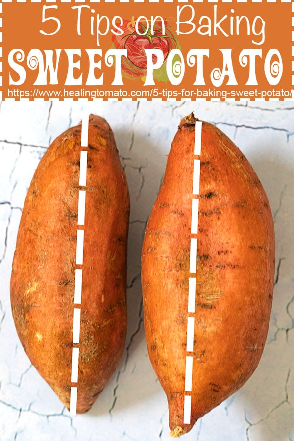 5 tips on how to bake the perfect sweet potato. It is easy to bake the perfect sweet potato by using these quick and essential tips. This is the best how-to recipe for a sweet potato. Since they are lo carb, sweet potatoes make for the best snack and dinner idea. Works great for Vegan, Vegetarian recipes or for any type of diet #healingtomato #bakedsweetpotato