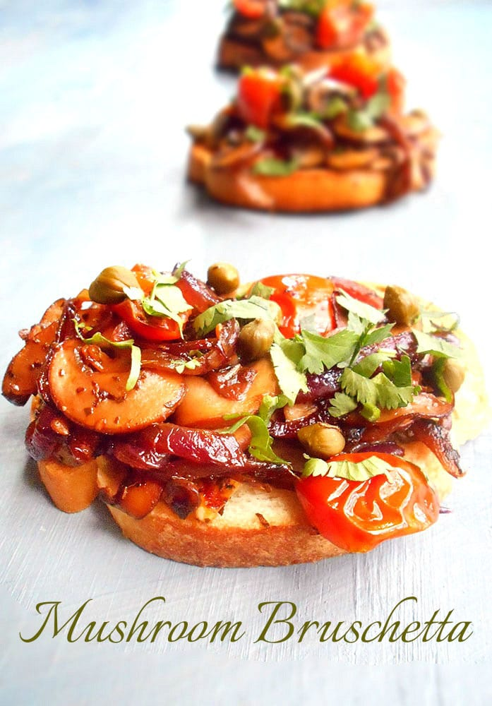 Mushroom Bruschetta With Tomatoes - Easy Vegetarian Meals ...