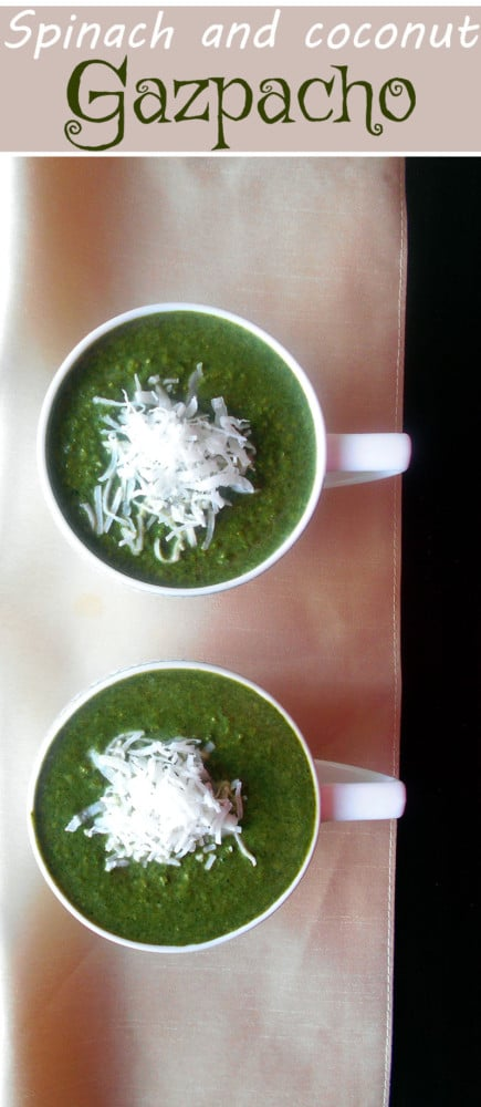 Spinach Soup (Gazpacho) with Coconut and Corn. This flavorsome and hearty soup is made with spinach, coconut and corn. Vegetarian's delight