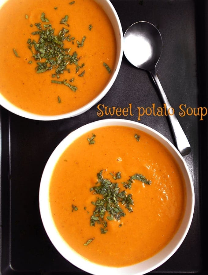 Make this easy sweet potato soup recipe if you are looking for quick dinner ideas. Vegan, Vegetarian and Gluten free. Homemade soup is the best kind of soup. Lo Carb and packed with vitamins