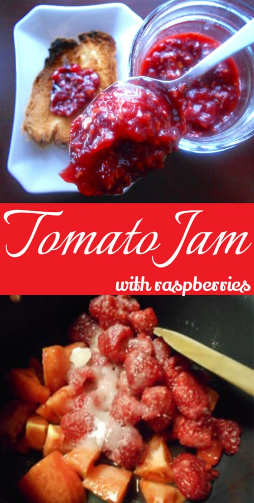 Tomato Jam made with raspberries. This is a very delicious take on regular raspberry jam. Adding tomatoes gives it a tangyness. Perfect breakfast jam recipe or use it as a sandwich spread. Goes great with any brunch recipe too