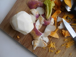 peeled turnip on a chopping board