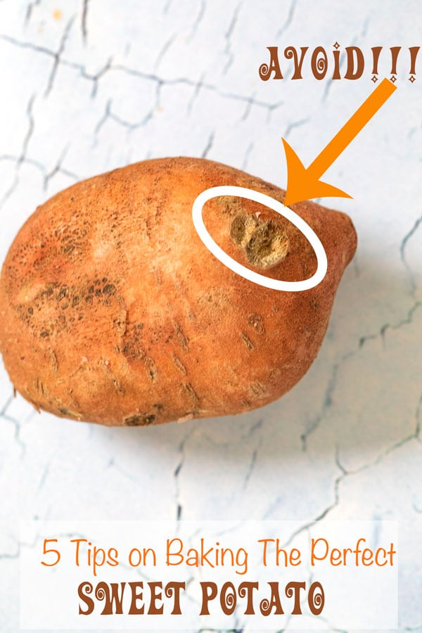 An arrow pointing to the bad part of a sweet potato - 5 Tips on Baking The Perfect Sweet Potato