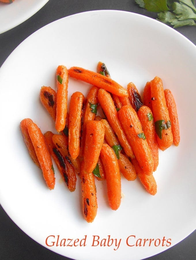 Vegan Glazed Carrots With Cilantro on a White Dish