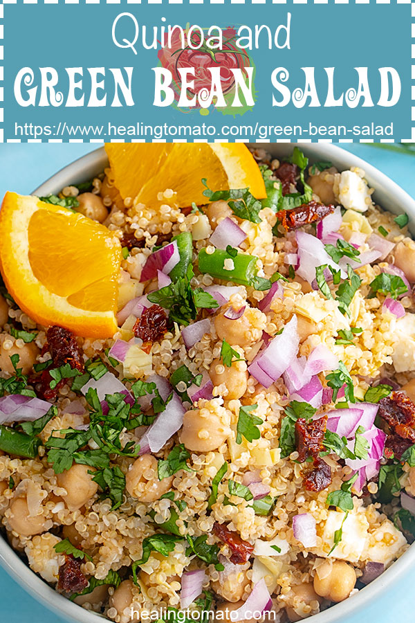 Cold green bean salad recipe with feta and quinoa. This vegan green bean salad is perfect for meal prep. Use a simple orange dressing for it. #healingtomato #greenbeans https://www.healingtomato.com/green-bean-salad/
