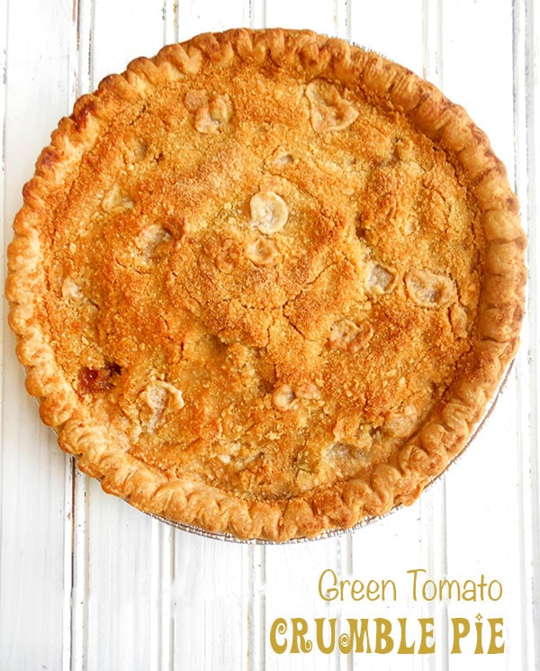 Overhead view of a green tomato crumble pie