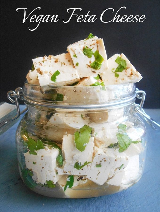 Tofu cubes in a glass jar
