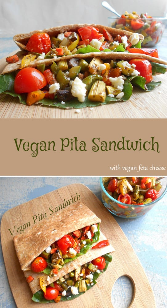 A simple vegan sandwich made with fresh vegetables roasted in delicious spices and put into a square pita sandwich. Top it with vegan feta cheese and it is the perfect light lunch meal