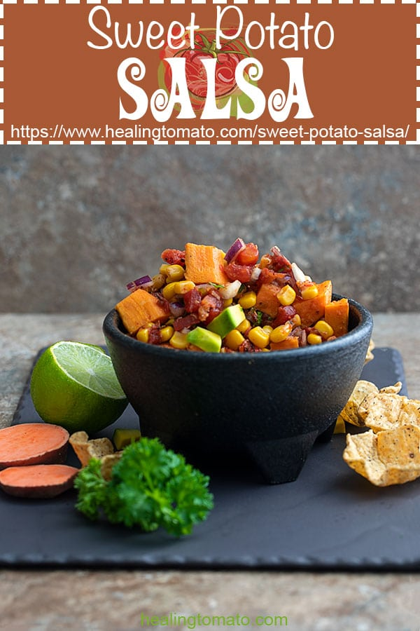 Looking for vegan appetizers for the big game? Roasted sweet potato salsa is a super easy salsa to make #healingtomato #salsa #vegan