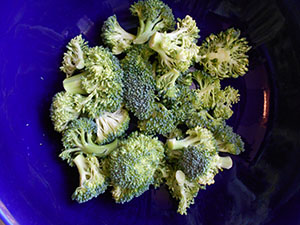 Overhead View of a Bowl Filled with Broccoli Florets