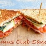 Overhead View of 2 Club Sandwiches Cut into Triangle Shapes Sitting on a Brown Cutting Board.
