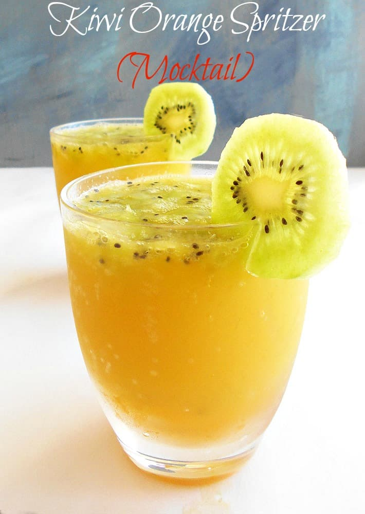 This Kiwi Orange Spritzer mocktail is very easy to make. Takes only 5 minutes and four ingredients. Perfect brunch recipe for the fall