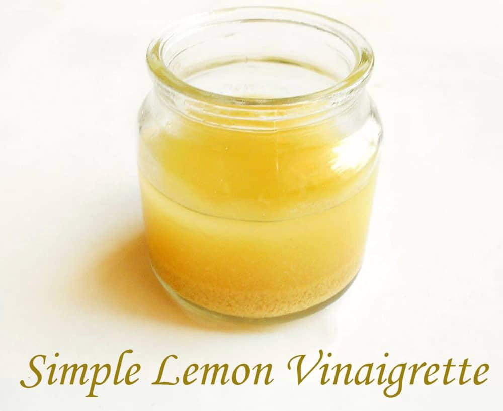 Front view of simple lemon vinaigrette in a glass jar