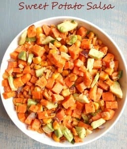 These roasted and caramelized sweet potato salsa is made with fresh ingredients. It has corn, avocado, onions, and serrano peppers. Garlic completes the flavor and gives this dish a sweet and spicy taste. Best salsa for game day. Easy vegetarian and vegan snack! My guests ate this up even before the coin toss was done. It is so tasty!