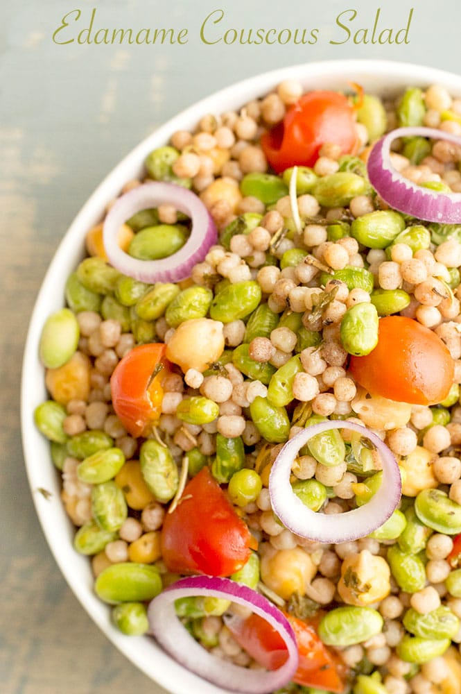 A simple edamame couscous salad that is a perfect vegan dinner idea for any day of the week. Vegetarian healthy recipe that is quick and simple to make