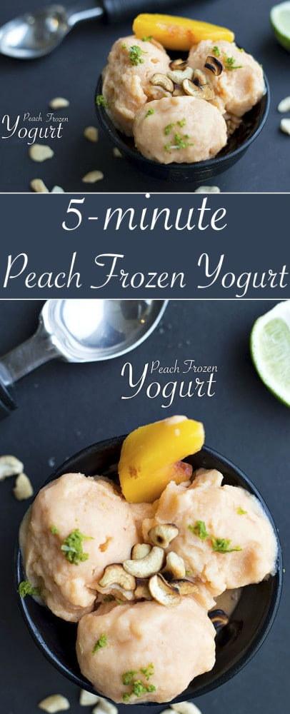 Make your own Peach Frozen Yogurt. Takes only 5 min to make. It is the perfect vegan dessert idea. It is a healthy dessert recipe perfect for any occasion