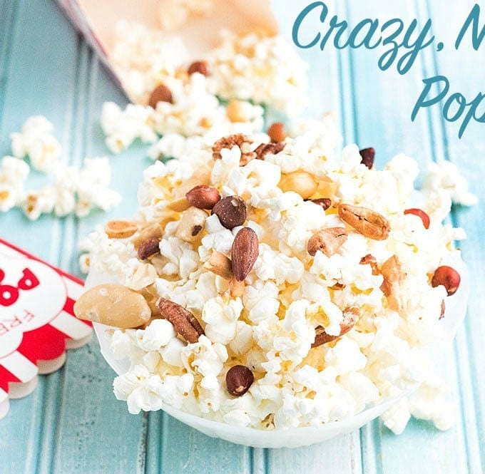 If you are looking for movie popcorn recipe, make this quick, healthy crazy, nutty popcorn recipe. Take popped popcorn and add all kinds of nuts to it.