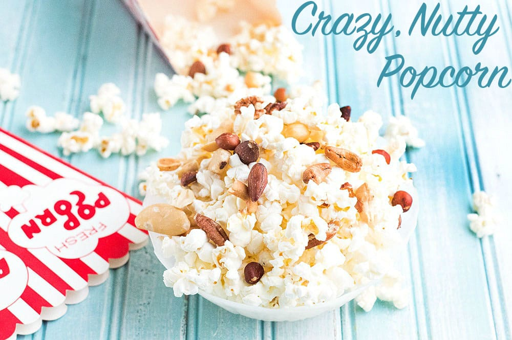 Front view of popcorn mixed with nuts - Crazy nutty popcorn
