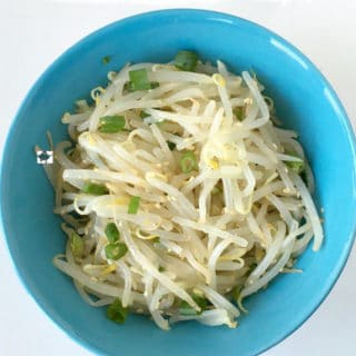 Mung Bean Sprouts Salad - Vegan, Korean Side dish that is easy to make. Goes well with any meal. A very simple recipe to make that comes together in 15min.