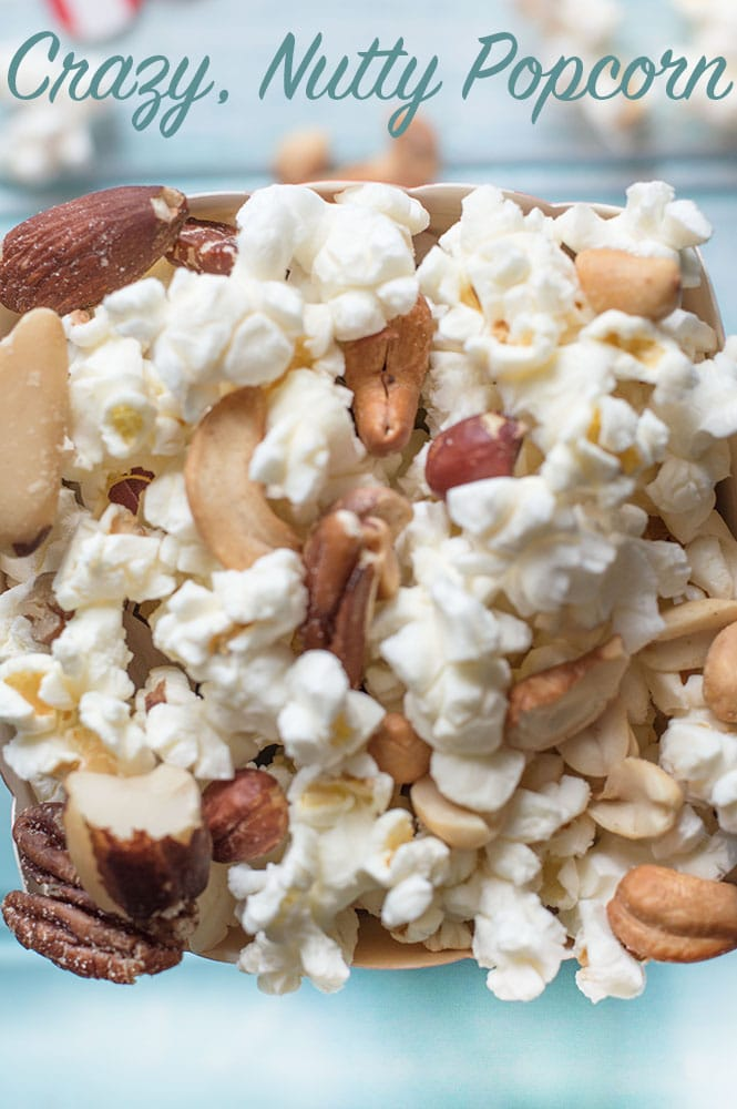 Closeup view of popcorn mixed with nuts - Crazy nutty popcorn