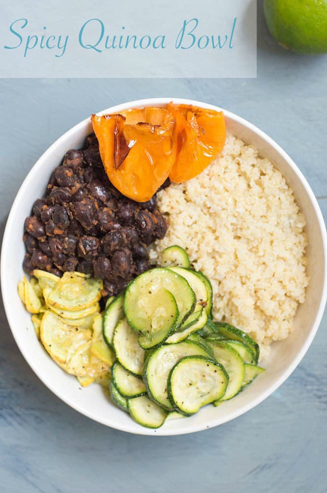 Made with fresh veggies and black beans, this spicy quinoa bowl is perfect dinner idea. Roasted habaneros add a little kick. A delicious vegan dinner idea