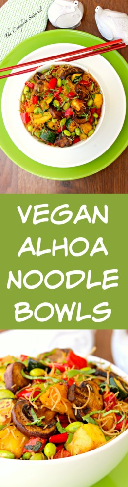 Vegan Aloha Noodle Bowl ~ Grilled pineapple, zucchini, and red peppers then quickly stir-fried with mushrooms, edamame, rice noodles, and a sweet-spicy sauce for quick and utterly delicious dinner ~ By The Complete Savorist